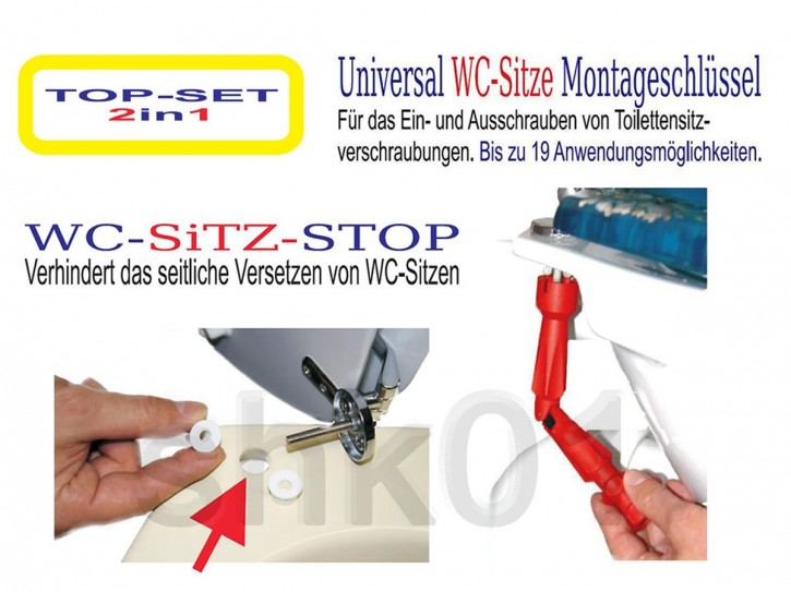 TOP-SET WC-Sitz-STOP Montageschlüssel stabile Deckel Befestigung rutschfest Klo