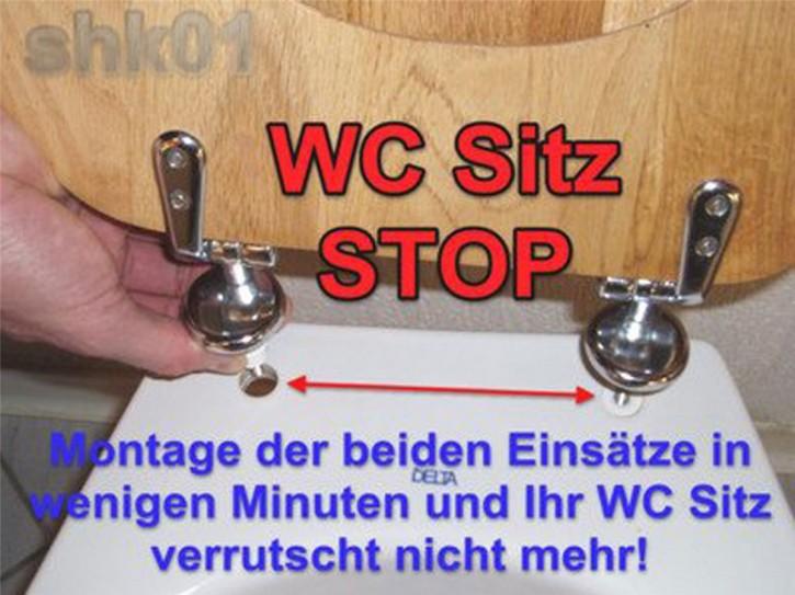 WC Sitz STOP stabile Deckel Befestigung sicher rutschfest Keramik Klosett Sitzbecken Versetzung