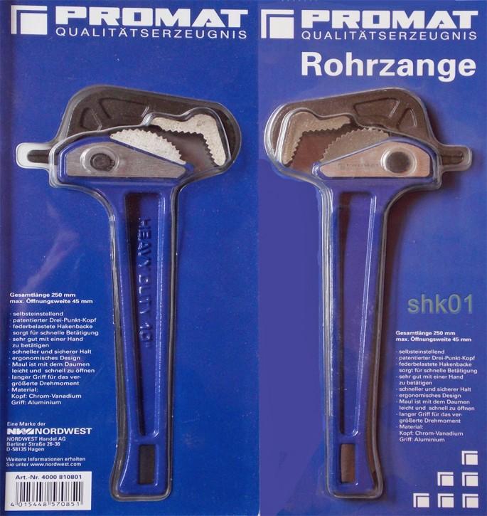 Promat Rohrzange Zange Handwerkzeug Werkzeug selbsteinstellend L 250mm Spw. 45mm