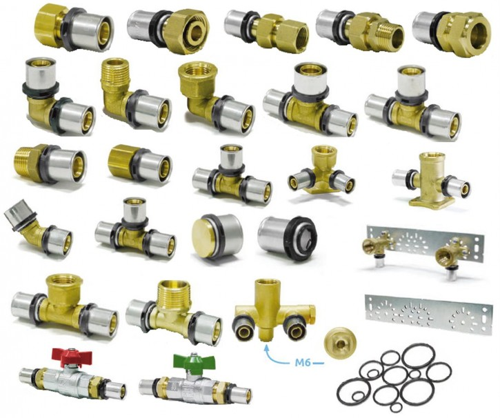 System-Pressfitting TH DVGW Fitting Verbundrohr Winkel T-Stück Kugelhahn Press