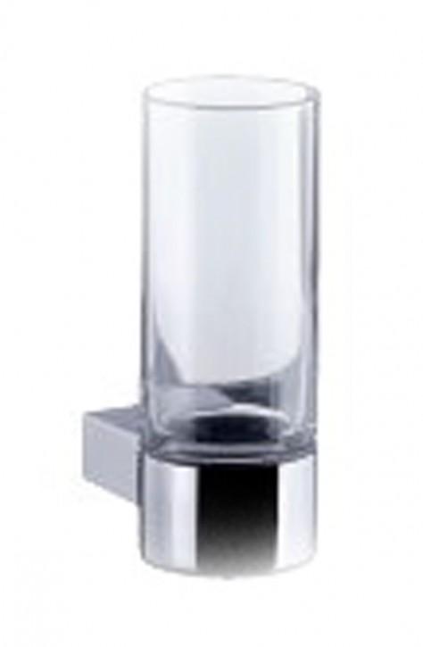 VIGOUR derby style Glashalter mit Kristallglas klar Zahnputzbecher-Glas verchromt