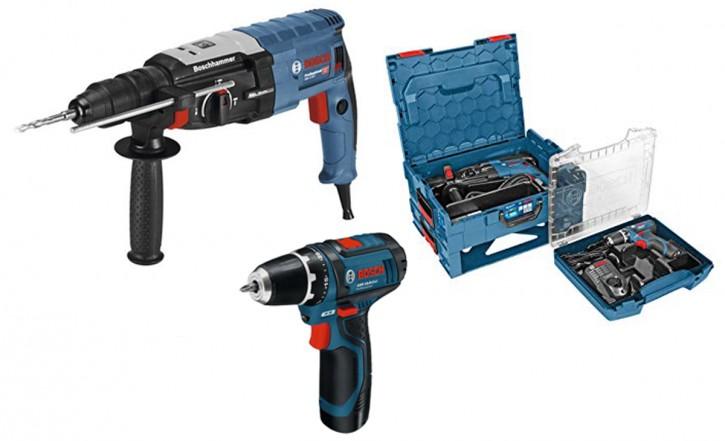 Bosch Professional Bohrhammer + Akku-Bohrschrauber Set Elektrobohrmaschine Schrauber
