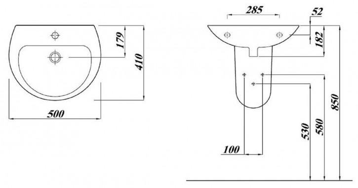 SOLO Handwaschbecken Waschtisch Waschbecken 45,50,55,60,65cm weiß