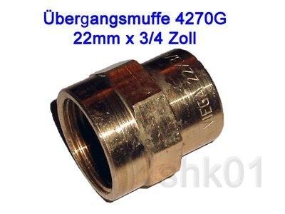 "Übergangsmuffe 4270G 22mm x 3/4"" IG Innengewinde Fitting Lötfitting Rotguss"