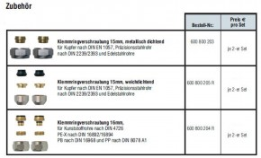 Heizkörper Hahnblock Verschraubung Klemmring Kupfer Kunststoffrohr