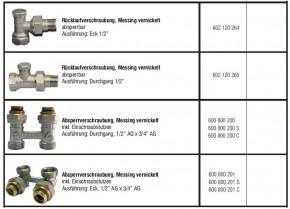 Heizkörperanschlussamatur Hahnblock Rücklaufverschraubung Absperrverschraubung