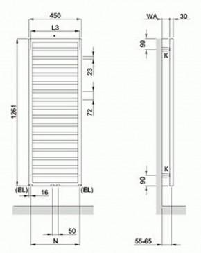 Badheizkörper 1261x450 mm Zehnder DIANA Life DIL-130-045 weiß ZD500145B100000
